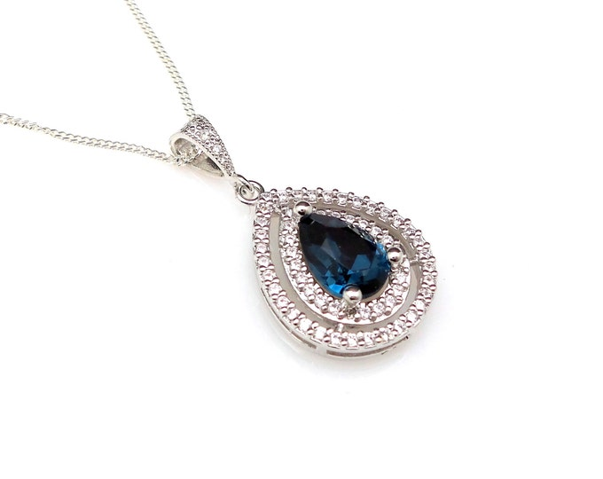 wedding bridal jewelry bridesmaid gift prom party christmas Sterling silver necklace navy montana blue teardrop swarovski pendant necklace