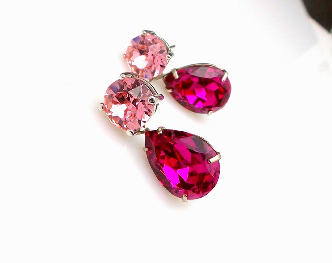 bridesmaid gift earrings christmas prom party bridal Swarovski light rose round stud post fuchsia hot pink teardrop crystal rhinestone