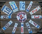 Wood Fence Panel Clock,Custom Clock,Hand Painted,Customized Wall Clock,Rustic Wall Clock,Sports Team Clock,License Plate Decor,boys room