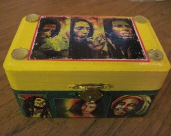 Bob Marley Small Hand Crafted Decoupaged Wooden Trinket Keepsake Box