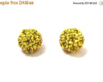 50% OFF SALE vintage earrings yellow flower cluster rhinestone 1960s clip on jewelry