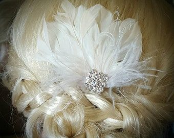 Rose Gold Wedding Fascinator, Champagne Feather Hair Clip, Ivory Fascinator, Bridal Hair Fascinator,Vintage Style Fascinator,Bridal Comb