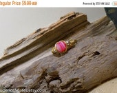 On Sale Wire Wrapped Brass Striped Pink Agate Bead Pinky Finger Toe Ring size 6 1/2