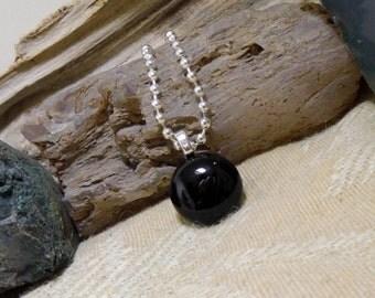 Black Agate Gemstone Pendant Small, Dainty, Teachers, Friends, Birthdays, Kids, Teens