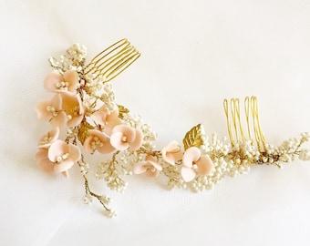Blush Wedding Hair Comb, Blush Hair Flowers, Bridal Hair Comb, Rustic  Wedding, Hair Vine