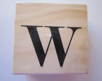 rubber stamp - letter W monogram - 1.5 inches