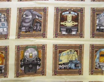 fabric - TRAINS - 23 x 44 inches - all cotton - Timeless Treasures