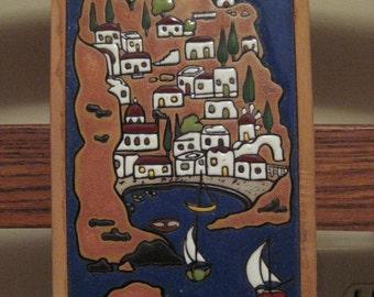 vintage Greek Island framed tile-Crete