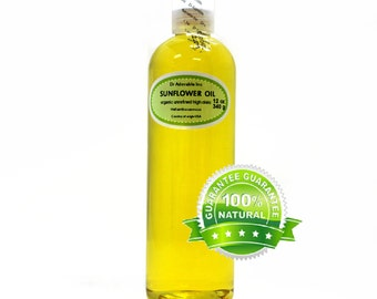 12 OZ Sunflower Oil Unrefined 100% Pure Organic Cold Pressed Virgin