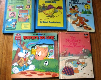 5 Vintage Children's Books With Sherlock Holmes Theme, Pluto, Donald Duck, Buster Bunny, Peanuts