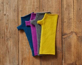 Wool Fingerless Mittens, fingerless gloves, grey mittens, yellow mittens, purple, diesel blue mitts, wrist warmers lambswool, women gloves.