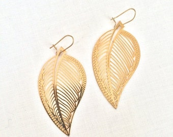 Valentine Sale Gold earrings delicate filigree leaf Dangle earrings boho leaf gypsy jewelry