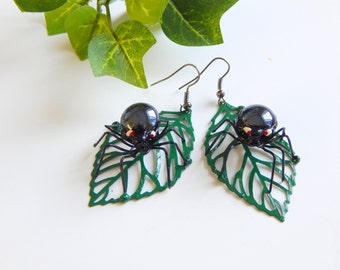 Very Small Black Spider on Green Leaf Earrings Metal Jewelry Birthday Gift for Her Unusual Pair Wire Spider Earrings Light Weight and Unique