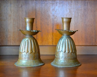 vintage mid-century tinned copper egyptian candle stick holders