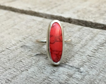 Elongated Oval Bright Red Howlite Turquoise Ring in Sterling Silver | Red Turquoise Ring | Silver Ring | Red Howlite Ring | Boho | Rocker