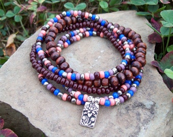 Beaded Stack Stretch Bracelets with Silver Lotus Charm, colorful boho jewelry, hippie beads