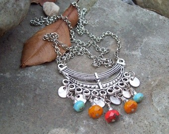 Gypsy Necklace, long Bohemian Necklace, silver Boho crescent bar necklace with Czech glass dangles and silver drops