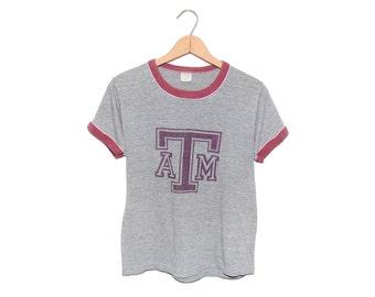 Vintage 70's Texas A&M University Tr-Blend Heather Grey / Maroon Gulf Coast Sportswear College Ringer T-Shirt Made in USA - Medium