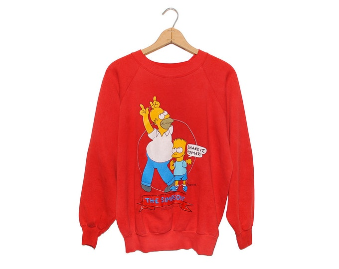 Vintage 1990 Bright Red The Simpsons Bart & Homer Dancing Sweatshirt Made in USA - XL