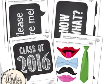 DIY Photo Booth - Chalkboard Signs and Props - GRADUATION
