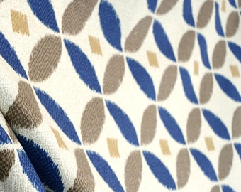 Cresent Pacific Microfibres Fabric Blue And Brown Ikat