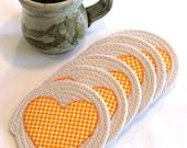 Coiled Fabric Coasters, Mug Rugs, Trivets, Shabby Chic, Orange, Checks, Cream, Beige, Cup, Candle Mats, Wine Mat