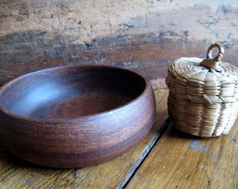 Miniature Basket Collectible Primitive Handmade Myrtlewood Bowl Americana Display