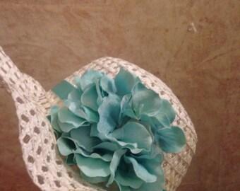 Little Girls Aqua Floral Hat - girls straw hat - Easter Hat