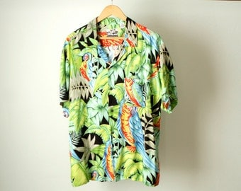 TROPICAL SURF print 80s 90s HAWAIIAN rayon short sleeve shirt