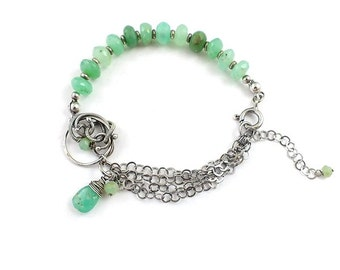 Wire wrapped bracelet, green chrysoprase bracelet, sterling silver bracelet, fine jewelry