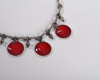 Vintage 1930s Sterling Enamel Necklace - Red Copper - Holiday Fashions