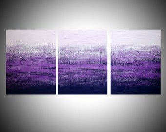 """LARGE WALL ART triptych 3 panel wall contemporary art """"Purple Triptych"""" canvas original painting abstract canvas pop wall kunst 27 x 12"""""""