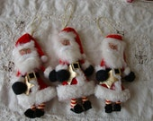 Santa Claus embellishments Christmas package ties Fabric Santa gift wrap crafts supplies Christmas wrapping ornaments for gift boxes