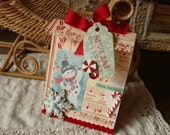 Christmas gift bag paper sack gift pocket Christmas party favor bag Retro Christmas gift card holder paper treat container Snowman gift wrap