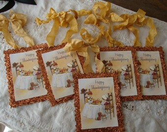 Thanksgiving gift tag ornaments party favors vintage style Happy Thanksgiving Cute children and dog glittered gifts Cottage Chic decor Fall