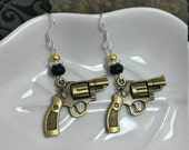 Gold Gun Earrings, Black and Gold Guns Sterling Silver Earrings, Black Guns Silver Earrings, Revolver Black Sterling Silver Earrings