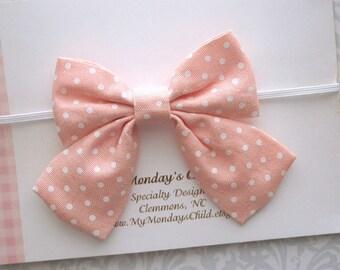 Peach Baby Bow Headband, Baby Headband, Baby Bow Headband, Sailor Bow Headband, Peach Bow Headband, Toddler Headband, Toddler Bow