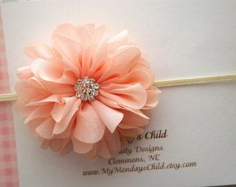 Peach Baby Headband, Peach Headband, Peach Flower Headband, Baby Flower Headband, Baby Headband, Newborn Headband, Toddler Headband