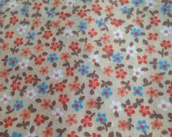 Beige Floral Calico Quilting Fabric
