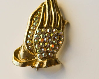 Praying Hands Pin Vintage Religious Rhinestone Praying Hands Brooch Religious Jewelry
