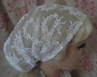 White lace Head Covering,  Headwrap,  Prayer Veil,  Religious Head Covering,  Wedding Head Covering,    Tichel, Kippot   SALE !  SALE !