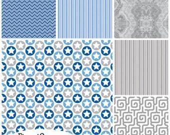 FQ Bundle Blue Gray Coordinates Flannel Fabric - Contains 6 Fat Quarters