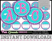 "Pink Teal Purple Alphabet - INSTANT DOWNLOAD 1"" Bottle Cap Images 4x6 - 869"