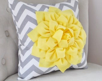 YELLOW PILLOWS Gray Decorative Throw Pillows Yellow Throw Pillows Gray and Yellow pillow Home decor Nursery Decor recliner Rocker Pillow