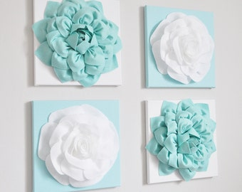 Aqua Home Decor White Flower 12x12 Canvas Flower Blossom Wall Art 3d Decor Aqua Wall Art