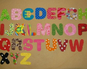 "Alphabets - You Choose your color - the 26 letters of alphabet only - 3"" size - Iron on Sew on"