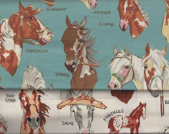 Horses with Names Alexander Henry I Spy Fabric By the Fat Quarter Blue Natural