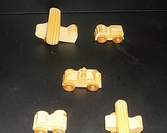 5 Handcrafted Wood Toy Airplanes, Tow Truck, Fire Truck, Taxi  OT-6  non toxic finish