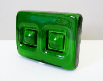 Danish Green glass nougat , paperweight