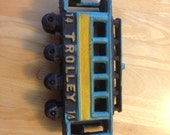 Vintage Cast Iron Trolley Car Train No 14 Collectible Toy